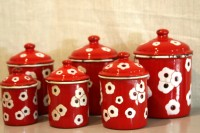 Set of 6 red enamel vintage canisters.