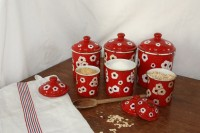 Vintage red enamel canisters