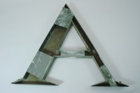 Metal letter A-back view