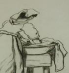 Pencil drawing of woman washing clothes