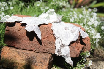 I love the contrast between the fine lace, the handmade colonial brick and the lacy alyssum flowers.