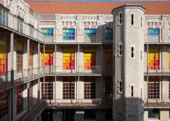 Coloured facade of Calais lace museum. Sourced: The Good Life France Magazine