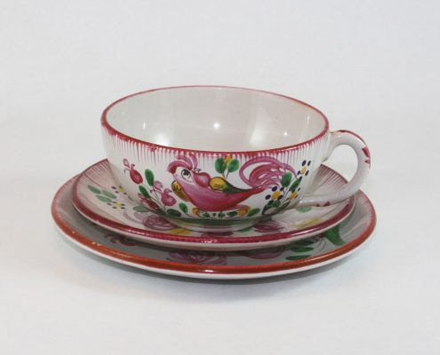 French cup & saucer, pink rooster