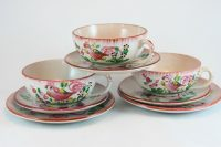French antique cups and saucers, pink roosters