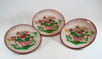 French antique St Clément ceramic rooster saucers